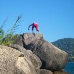 Maik am klettern -  Nein, er ist nicht gesprungen!
