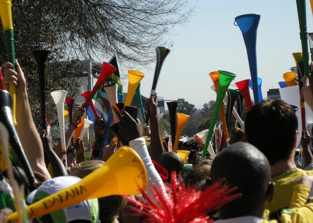 Vuvuzela im Gebrauch