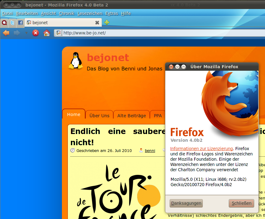 "Firefox 4.0 Beta 2 mit ""Tabs on Top"""