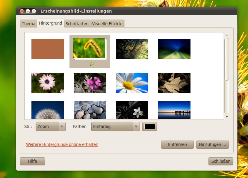 Slideshow für Hintergrundbilder der Arbeitsfläche auswählen