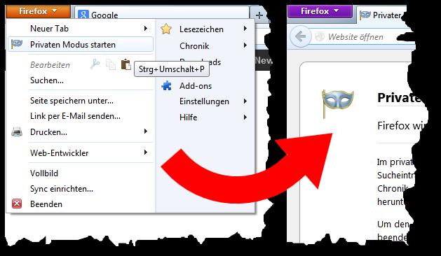 Im Privaten Modus (rechts) ist das Firefox-Menü violett statt orange
