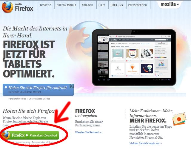 Firefox auf der offiziellen Internetseite herunterladen