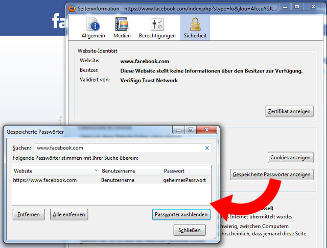 Gespeichertes Passwort in Firefox anzeigen lassen