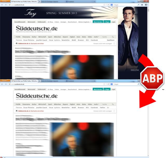 Die Startseite von sz.de mit (oberes Bild) und ohne Werbung