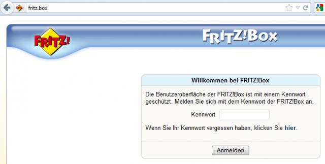 Passwortabfrage bei der Firtz!Box