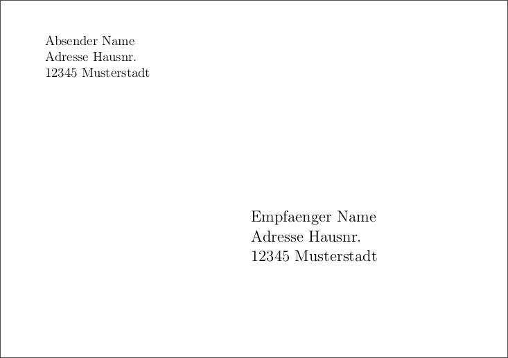 Briefumschlag Drucken Mit Latex Latex 2017 Bejonet