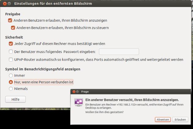 Vino sollte unter Ubuntu mindestens so wie abgebildet konfiguriert werden