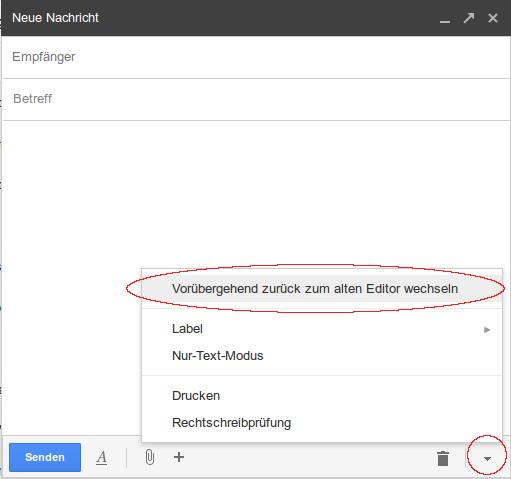 Zurück zur alten Gmail-Version