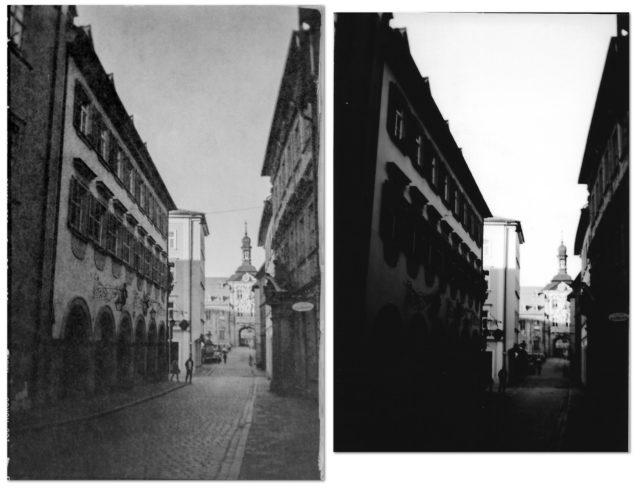 Links im Bild das mit Lightroom entwickelte Bild, rechts der Papierabzug aus der Drogerie. Vor allem die dunklen Bereiche sind auf dem Abzug sehr schlecht.