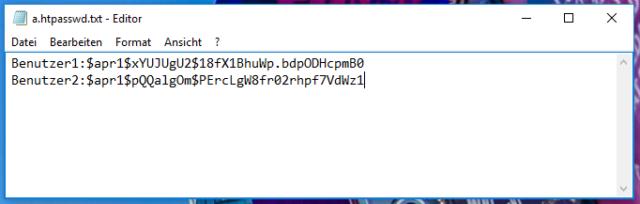 htpasswd Datei Inhalt und WordPress schützen