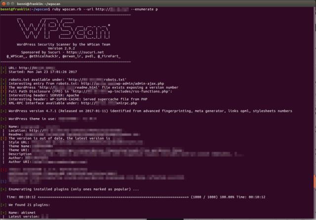 Wordpress Sicherheitslücken mit wpscan finden